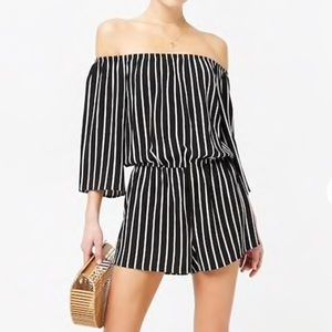 Pants - NWT Striped romper off shoulders